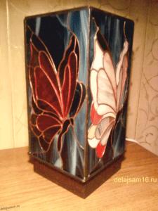 бабочка витражный светильник
