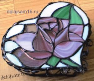 шкатулка витражная роза