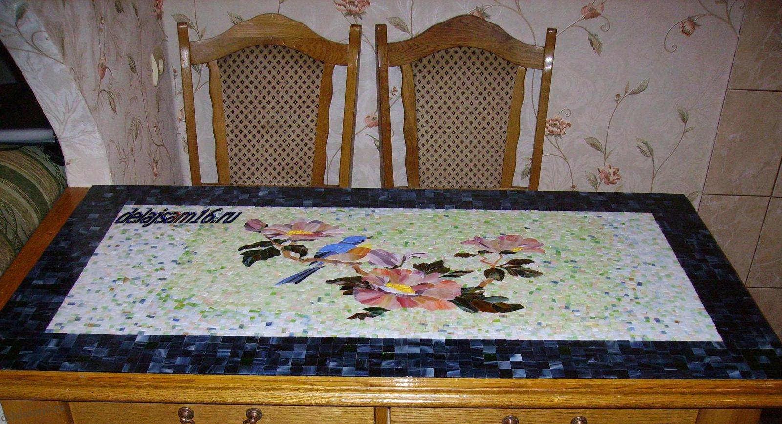 Выложить мозаику на столе своими руками 59